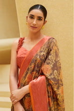 Load image into Gallery viewer, Bhelpuri Beige Sana Silk Printed Saree with Blouse Piece