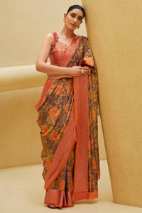 Bhelpuri Beige Sana Silk Printed Saree with Blouse Piece