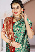 Load image into Gallery viewer, Bhelpuri Green Silk Woven Traditional Saree with Blouse Piece