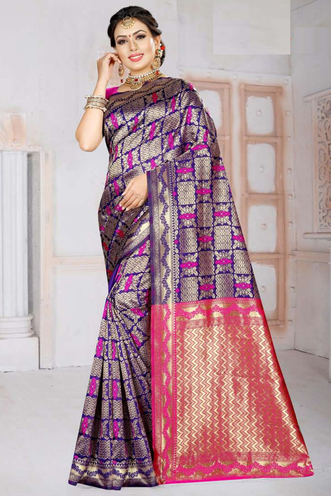 Bhelpuri Blue Silk Woven Traditional Saree with Blouse Piece