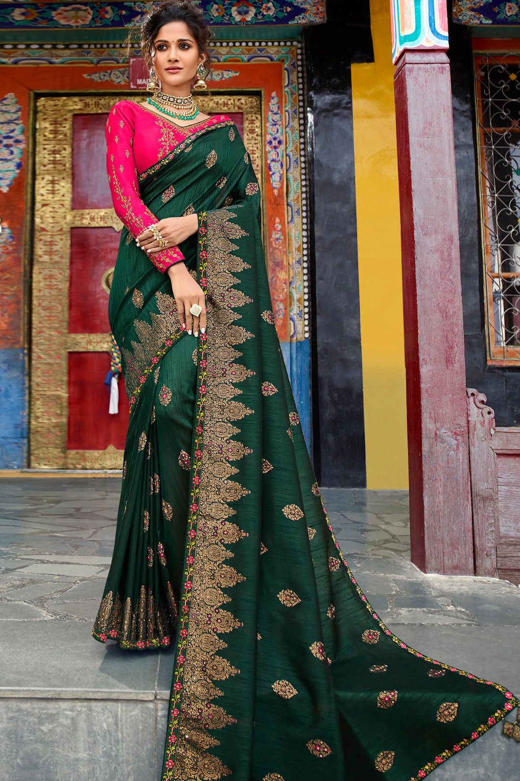 Bhelpuri Dark Green Weaving Raw Silk Embroidered Saree with Blouse Piece