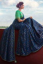 Load image into Gallery viewer, Bhelpuri Royal Blue Weaving Raw Silk Embroidered Saree with Blouse Piece