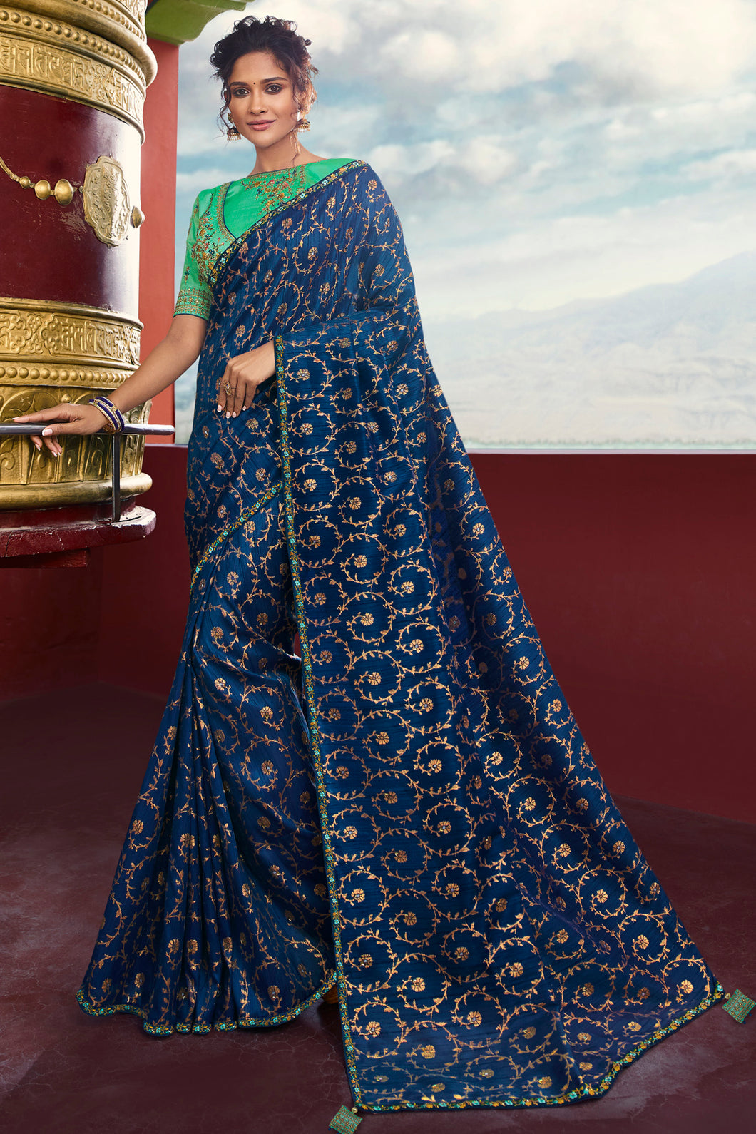 Bhelpuri Royal Blue Weaving Raw Silk Embroidered Saree with Blouse Piece