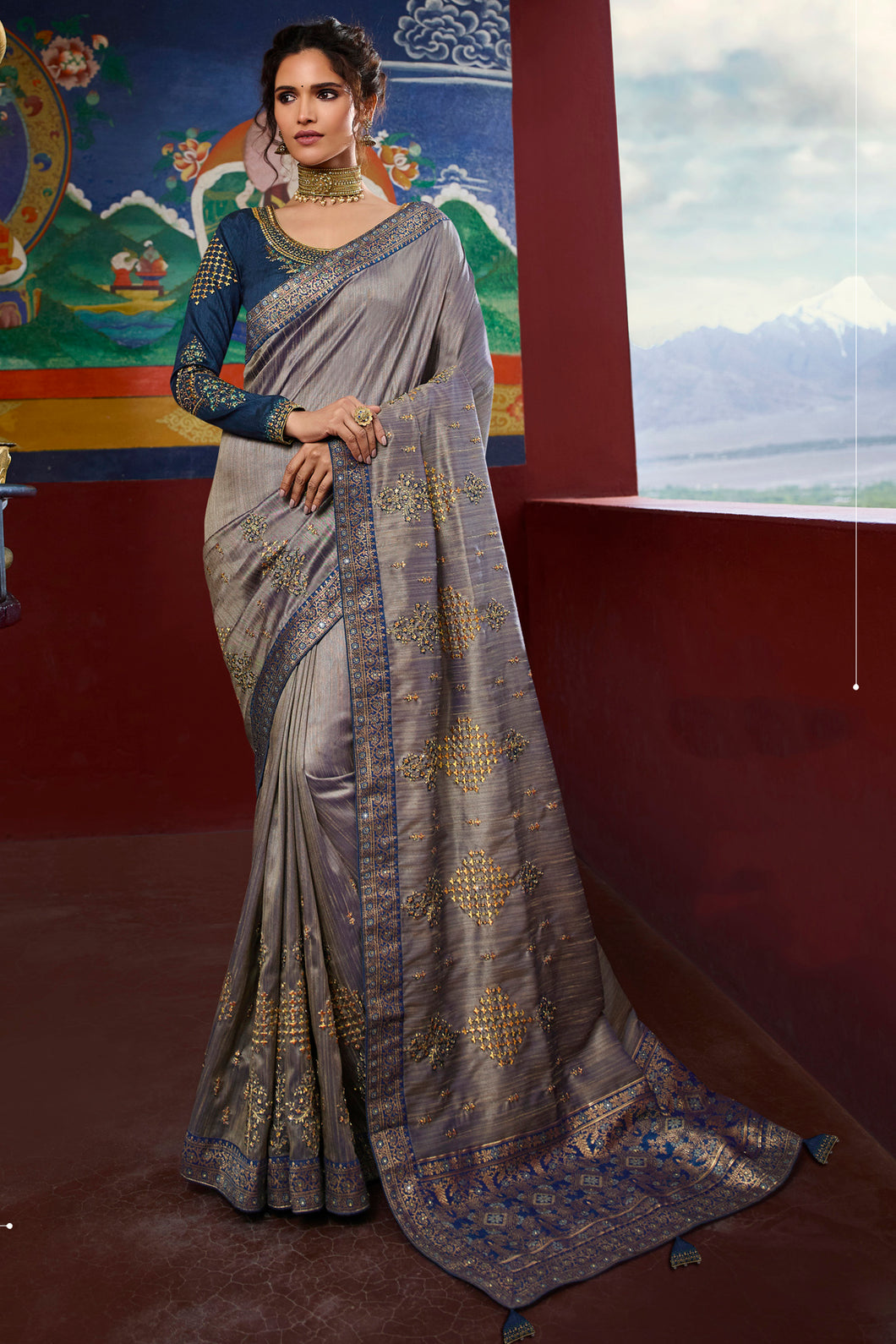 Bhelpuri Dusty Grey Weaving Raw Silk Embroidered Saree with Blouse Piece