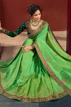 Load image into Gallery viewer, Bhelpuri Parrot Green Weaving Raw Silk Embroidered Saree with Blouse Piece