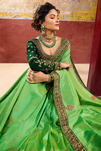 Bhelpuri Parrot Green Weaving Raw Silk Embroidered Saree with Blouse Piece