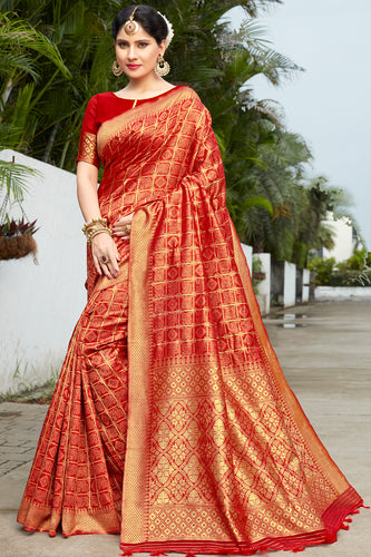 Bhelpuri Orange Banarasi Cotton Woven Traditional Saree with Blouse Piece