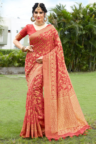 Bhelpuri Orange & Golden Banarasi Cotton Woven Traditional Saree with Blouse Piece