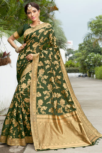 Bhelpuri Dark Green & Golden Banarasi Cotton Woven Traditional Saree with Blouse Piece