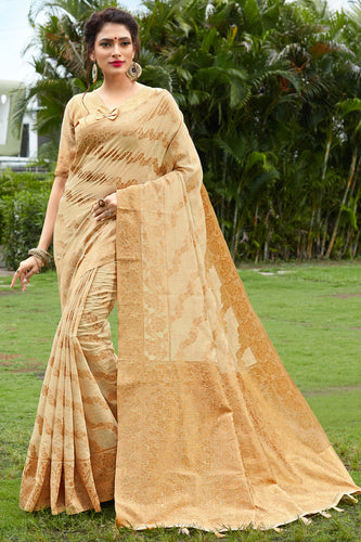 Bhelpuri Beige & Golden Banarasi Cotton Woven Traditional Saree with Blouse Piece
