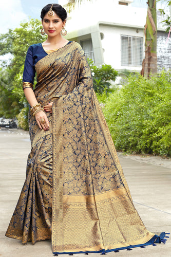 Bhelpuri Navy Blue & Golden Banarasi Cotton Woven Traditional Saree with Blouse Piece