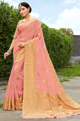 Bhelpuri Peach & Golden Banarasi Cotton Woven Traditional Saree with Blouse Piece
