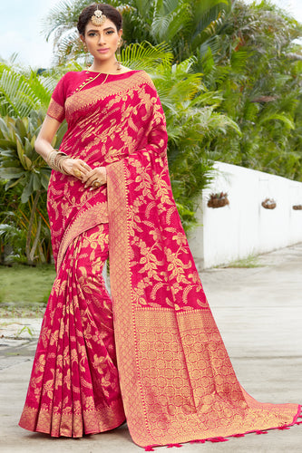 Bhelpuri Red & Golden Banarasi Cotton Woven Traditional Saree with Blouse Piece
