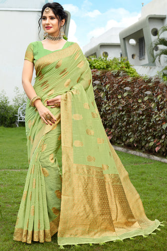 Bhelpuri Green & Golden Banarasi Cotton Woven Traditional Saree with Blouse Piece