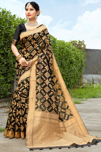 Bhelpuri Black & Golden Banarasi Cotton Woven Traditional Saree with Blouse Piece