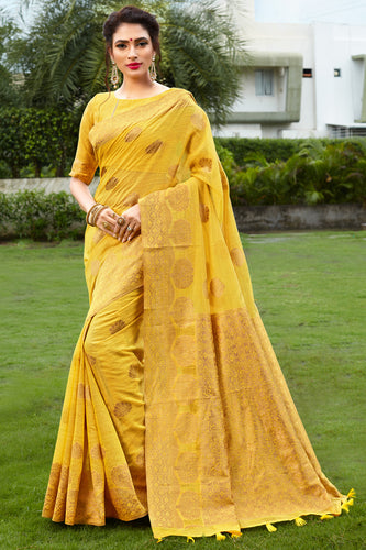 Bhelpuri Yellow & Golden Banarasi Cotton Woven Traditional Saree with Blouse Piece