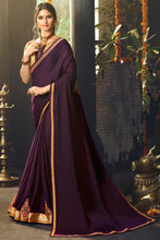 Load image into Gallery viewer, Bhelpuri Wine Satin Silk Embroidered Saree with Blouse Piece