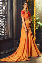 Load image into Gallery viewer, Bhelpuri Mustard Cotton Silk Embroidered Saree with Blouse Piece