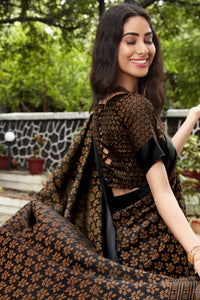 Bhelpuri Black & Beige Kota Brasso Printed Saree with Blouse Piece