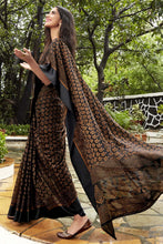 Load image into Gallery viewer, Bhelpuri Black & Beige Kota Brasso Printed Saree with Blouse Piece