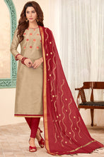 Load image into Gallery viewer, Bhelpuri Brown Cotton Embroidred Designer Party Wear Salwar Suit