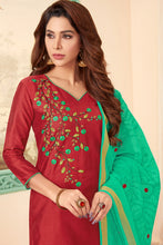 Load image into Gallery viewer, Bhelpuri Maroon Cotton Embroidred Designer Party Wear Salwar Suit