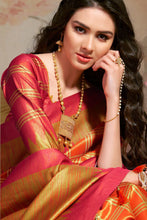 Load image into Gallery viewer, Bhelpuri Orange Silk Blend Woven Saree with Blouse Piece