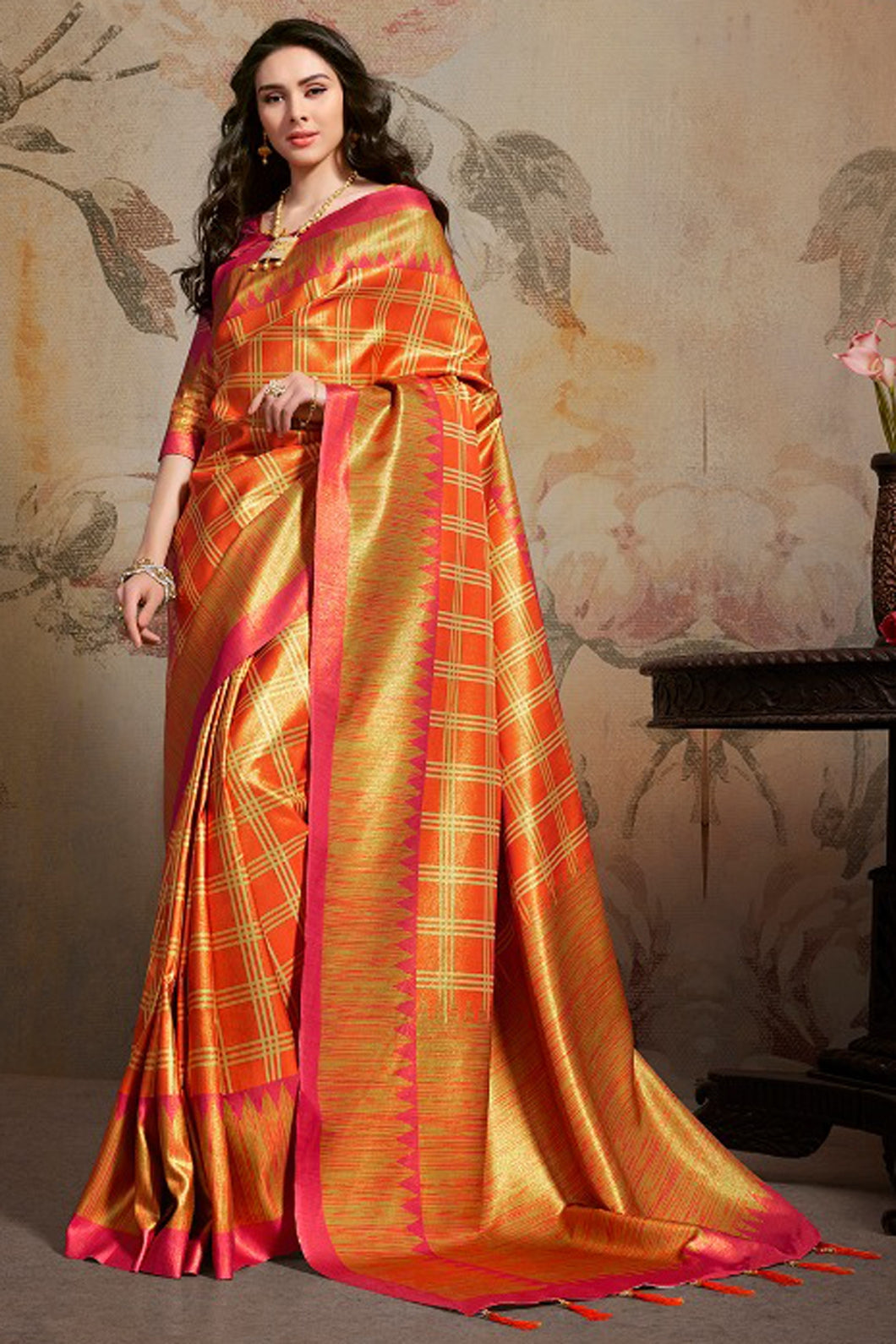 Bhelpuri Orange Silk Blend Woven Saree with Blouse Piece