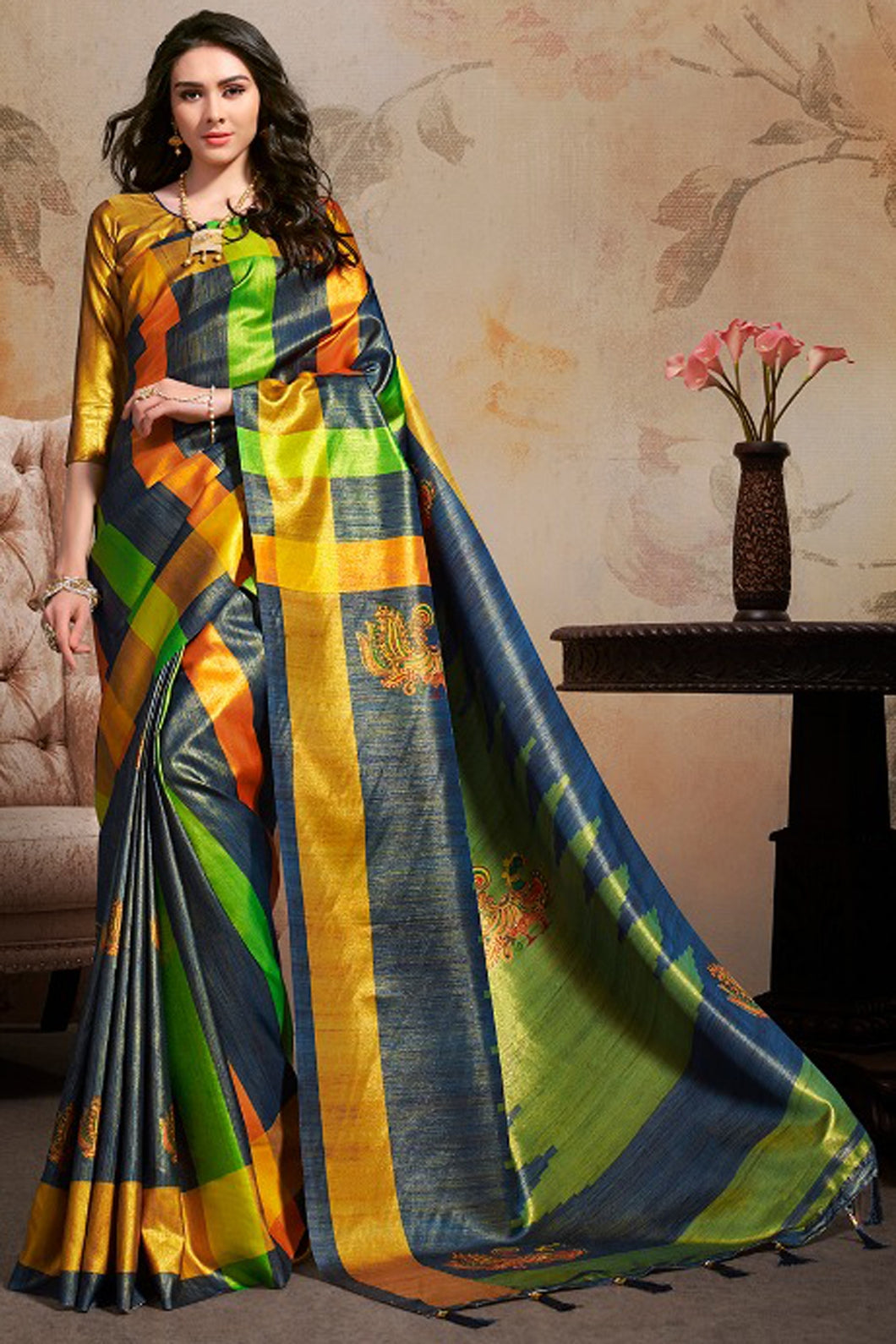 Bhelpuri Green & Blue Silk Blend Woven Saree with Blouse Piece