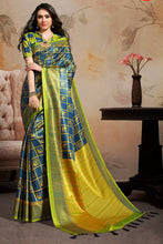 Load image into Gallery viewer, Bhelpuri Navy Blue & Yellow Silk Blend Woven Saree with Blouse Piece