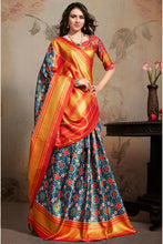 Load image into Gallery viewer, Bhelpuri Navy Blue & Orange Silk Blend Woven Saree with Blouse Piece