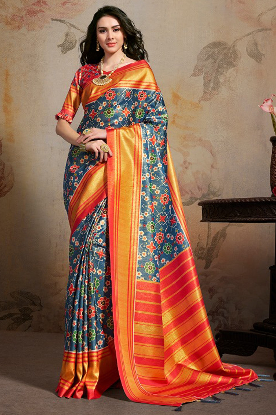 Bhelpuri Navy Blue & Orange Silk Blend Woven Saree with Blouse Piece