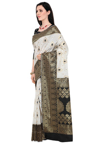 Bhelpuri Black and White Kanjeevaram Style Saree with Blouse Piece