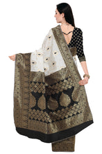 Load image into Gallery viewer, Bhelpuri Black and White Kanjeevaram Style Saree with Blouse Piece