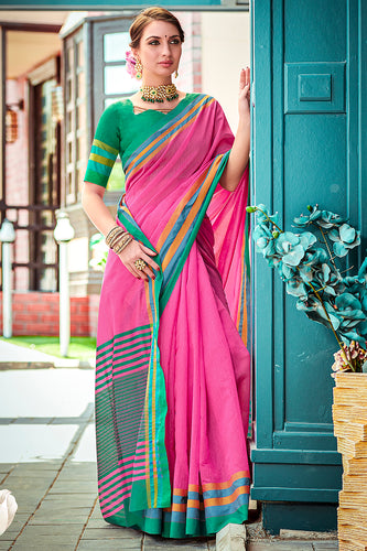 Bhelpuri Pink Chanderi Cotton Woven Traditional Saree with Blouse Piece