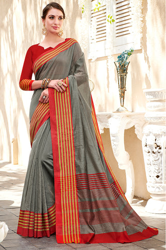 Bhelpuri Grey Chanderi Cotton Woven Traditional Saree with Blouse Piece