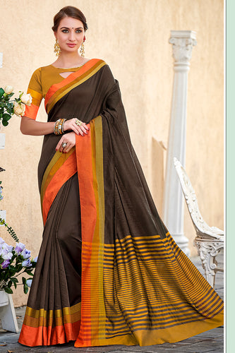Bhelpuri Black Chanderi Cotton Woven Traditional Saree with Blouse Piece