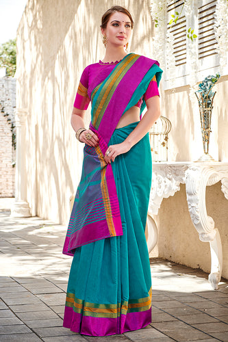 Bhelpuri Blue Chanderi Cotton Woven Traditional Saree with Blouse Piece
