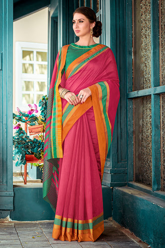 Bhelpuri Peach Chanderi Cotton Woven Traditional Saree with Blouse Piece