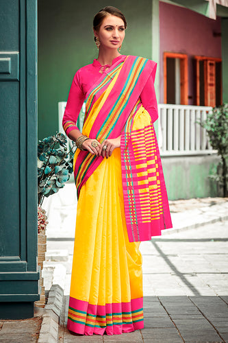 Bhelpuri Yellow Chanderi Cotton Woven Traditional Saree with Blouse Piece