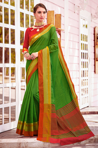 Bhelpuri Green Chanderi Cotton Woven Traditional Saree with Blouse Piece