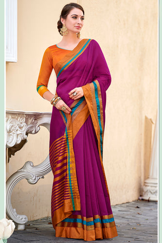 Bhelpuri Magenta Chanderi Cotton Woven Traditional Saree with Blouse Piece