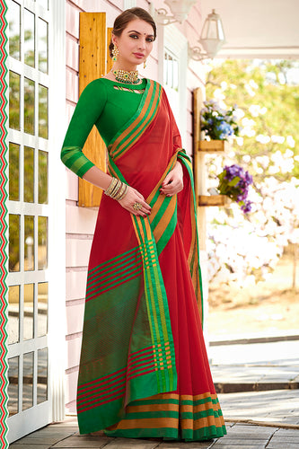 Bhelpuri Red Chanderi Cotton Woven Traditional Saree with Blouse Piece
