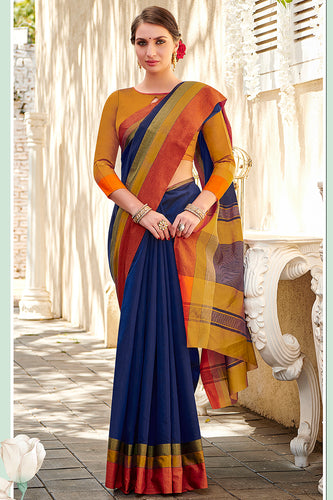 Bhelpuri Navy Blue Chanderi Cotton Woven Traditional Saree with Blouse Piece