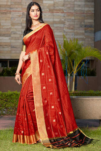 Bhelpuri Red Cotton Silk Woven Traditional Saree with Blouse Piece