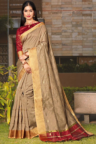 Bhelpuri Beige Cotton Silk Woven Traditional Saree with Blouse Piece