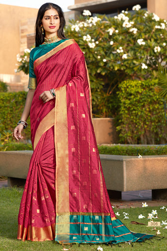 Bhelpuri Peach Cotton Silk Woven Traditional Saree with Blouse Piece