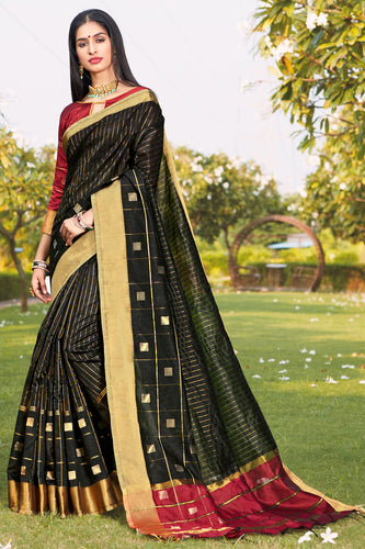 Bhelpuri Black Cotton Silk Woven Traditional Saree with Blouse Piece