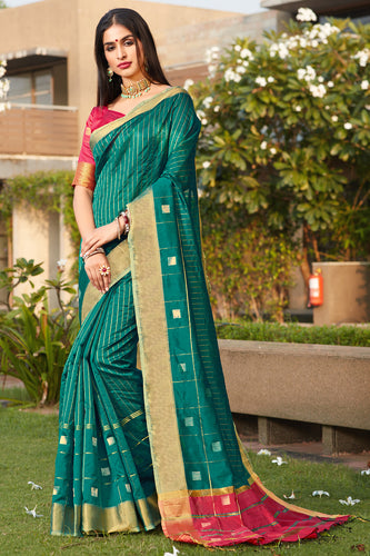 Bhelpuri Green Cotton Silk Woven Traditional Saree with Blouse Piece