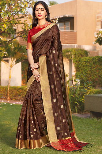 Bhelpuri Brown Cotton Silk Woven Traditional Saree with Blouse Piece